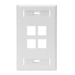 QuickPort Wallplate with ID Window, Single Gang, 4-Port, White